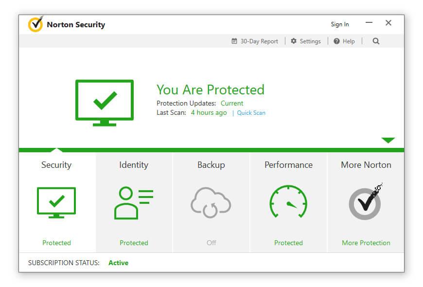 Opened Norton Internet Security App
